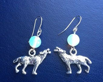 Full moon and howling wolf earrings