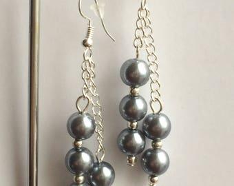 Art Deco Style Warm Grey Pearl Earrings
