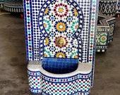 Moroccan Tile Fountain , Moroccan Mosaic Fountain , Wall mosaic fountain , Garden and Indoor fountain , wall water fountain .