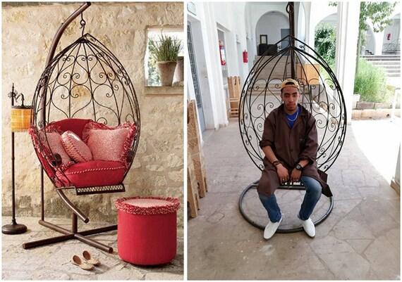 Chaise marocaine de hamac, chaise extérieure en fer forgé d\'oscillation  d\'hamac, meubles de jardin/patio, décor de Boho.