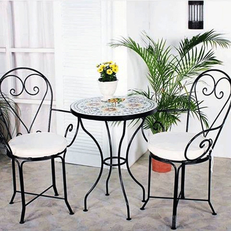 Jardin Marocaine2 Fer Forgé D'intérieur En Extérieur Table Qualité Ensemble Chaises Et Mosaïque De L3q4RAj5