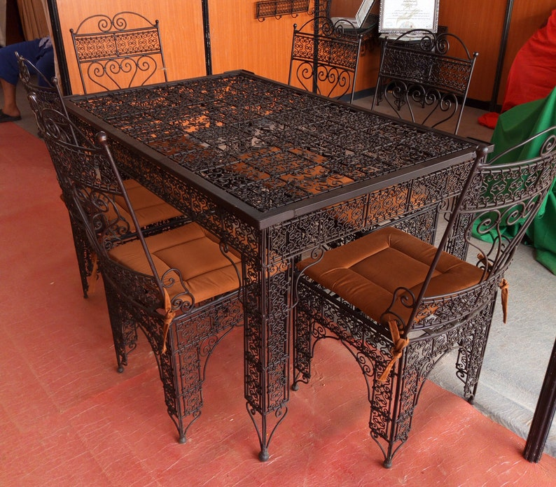 Wrought Iron Patio Furniture Garden Table Chairs Wrought Etsy