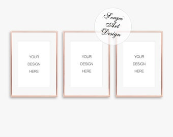 cc46c9e033d0 A4 Set of 3 Rose Gold Frame Mockup