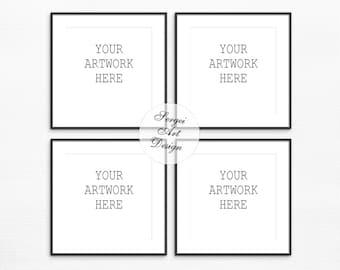Set Of 4 Thin Black Frame Mockup, Square Frames, Stock Photo, Styled  Photography, Digital Frame Mock Up, Instant Download