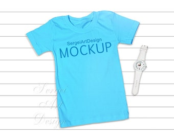 Download Free T-Shirt Flat Lay Mockup, Sky Blue T-Shirt Mockup, Unisex Basic T-Shirt, Bella Canvas Mockup, Blank Turquoise T-shirt, Add Your Design, PSD Template