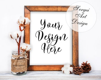 Rustic Frame Mockup, Rough Frame, 8x10 Portrait Orientation, Natural Wood, Frame Mock-Up, Styled Wooden Frame Mockup, Stock Product Mockup