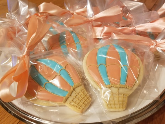 Hot Air Balloon Cookies Baby Shower Decorations Birthday Party Etsy