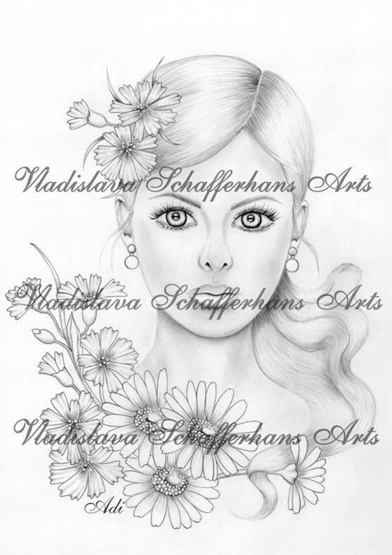 Arts Coloring page - GIRL MEADOW FLOWERS
