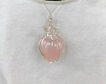 Rose Quartz necklace heart pendant