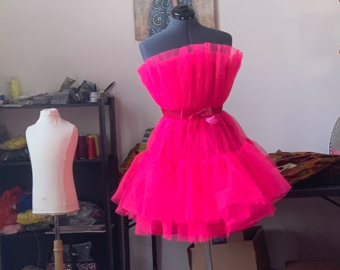 Tulle dress, tutu dress, prom Mesh Party Dress Women Rose Pink Off Shoulder Bow-knot Dress High Quality Sexy Sleeveless Ball Gown Mini Dress