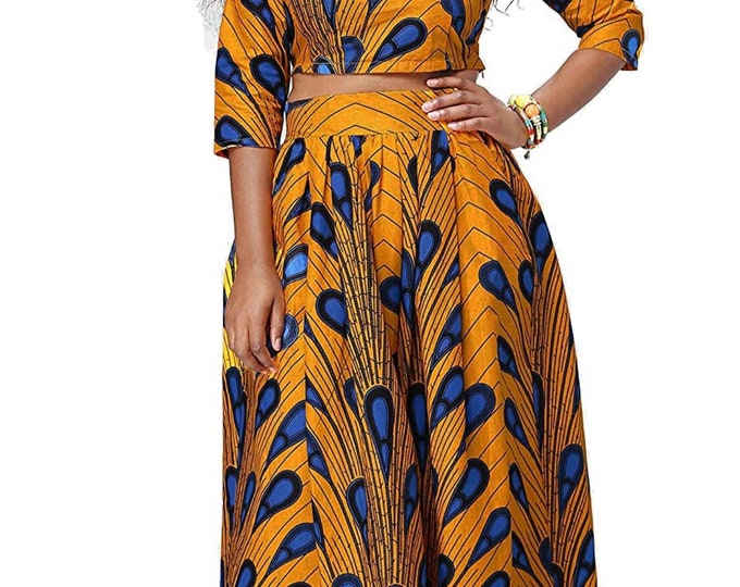 African print two piece outfit. African dress, African queen outfit, Ankara dress