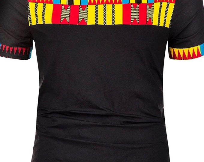 Men's African Print Shirt Short Sleeve Casual Dashiki Style T-Shirt Blouse Tops