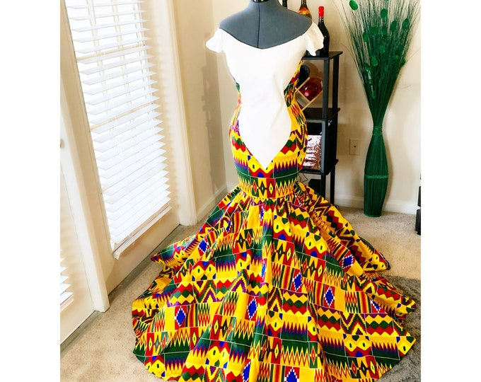 African prom dress, african bridal dress, dashiki dress, kente dress, african queen dress, wedding dress, prom dress, bridal outfits