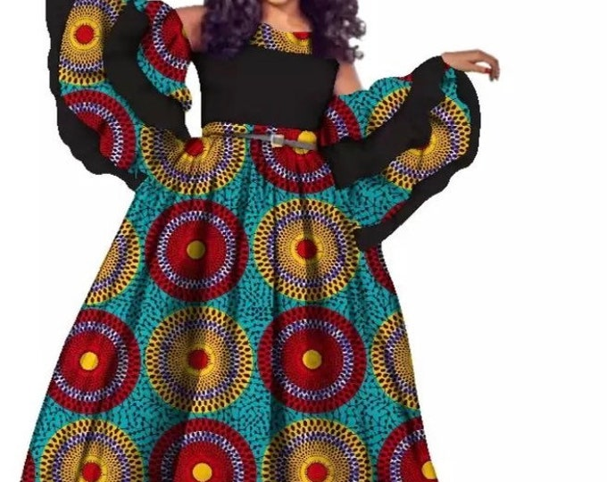 African queen ankara prom dress
