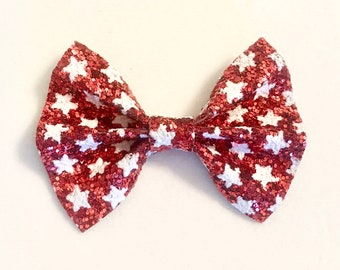 Red Glitter Star Bow