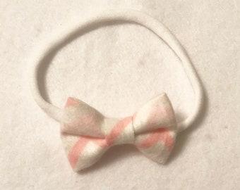 Pink chevron mini bow