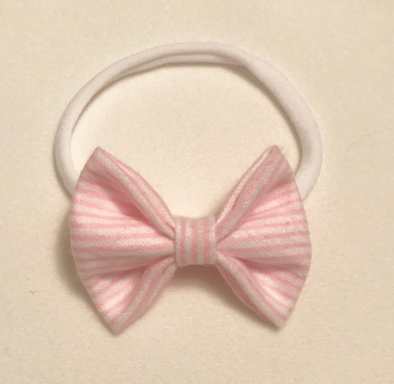 Pink and White Striped Bow