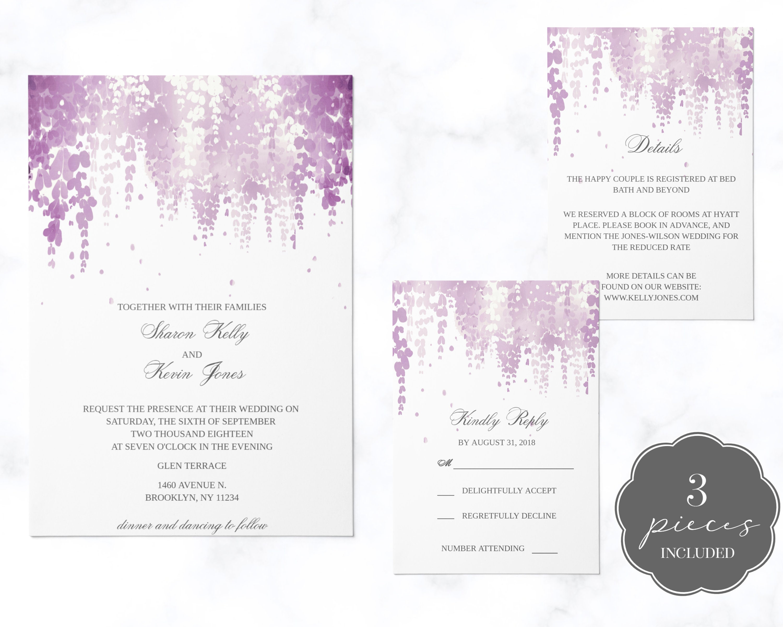 Lavender And White Wedding Invitation Plum Plant