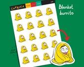 Blanket Burrito Girl Planner Sticker Sick Day Sticker Bad Day Stickers Guilt Emotion Sticker Blanket Stickers Emoji Daily Reminder L026