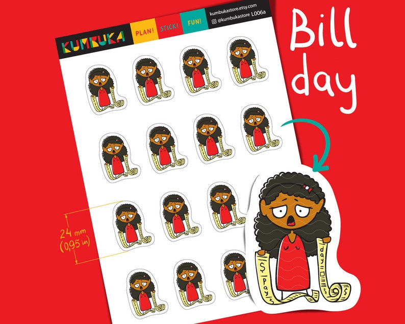 Bill Day Girl Planner Sticker Dark Skin Toned Pay Check Cash image 0