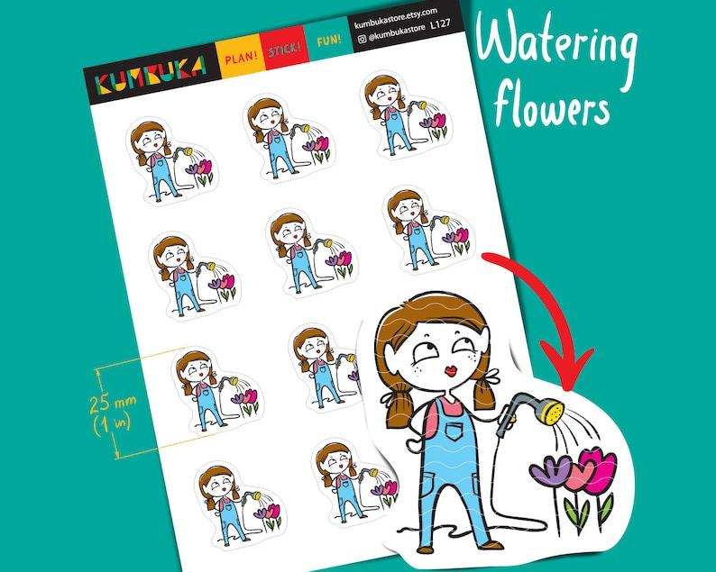 Watering Flowers Girl Planner Stickers Yard Work Gardening image 0