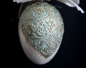 Easter egg decoration beautiful handmade and painted 140mm (5.5in) no. 2 (gold and turquoise)