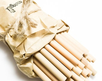50 Bamboo Drinking Straws - Handcrafted, Organic, Biodegradable & Reusable