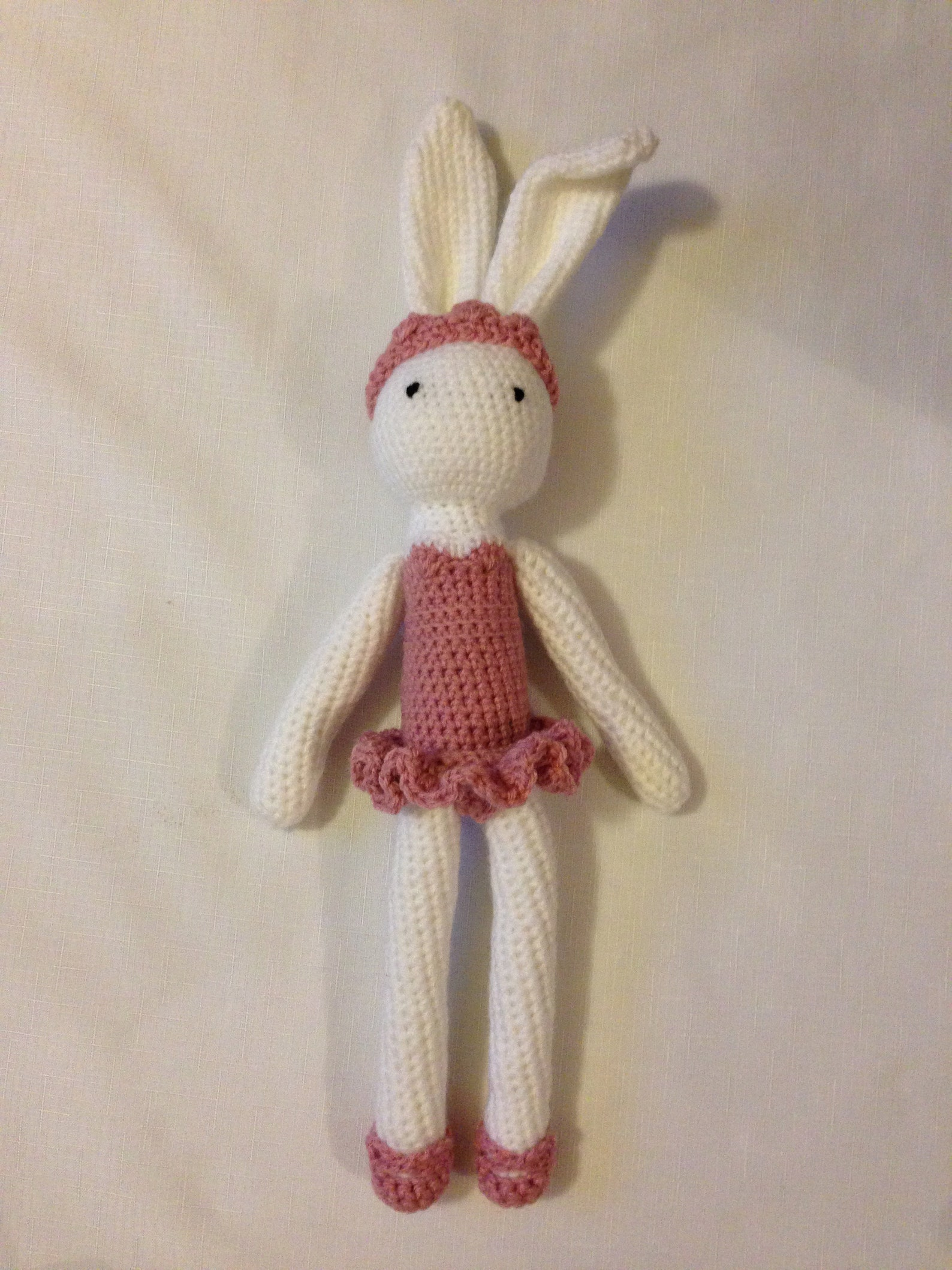 ella ballerina bunny with removeable bow, tiara, and ballet shoes | crochet rabbit ballet doll soft toy