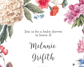 Baby Shower Invitation, Floral, Boho Chic, Bohemian Style | Digital File
