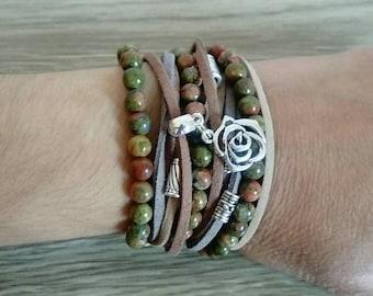Boho wrap bracelet, unakite bracelet, beaded bracelet, ladies bracelet, women gift, handmade jewelry, gift for her, birthday gift