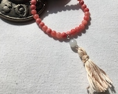 Quartzite Dyed Pink Hancrafted Beaded Bracelet with Tassel, Boho, Zen, Simple, Yoga Jewelry, Meditation, Spiritual, Gemstones, Simplicity