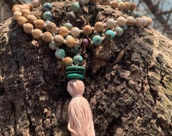 Meditation Prayer Beads,Blue Calsilica Mantra Spiritual Natural Coffee Wooden Jasper: Prosperity Smokey Quartz Hope Wisdom Mala