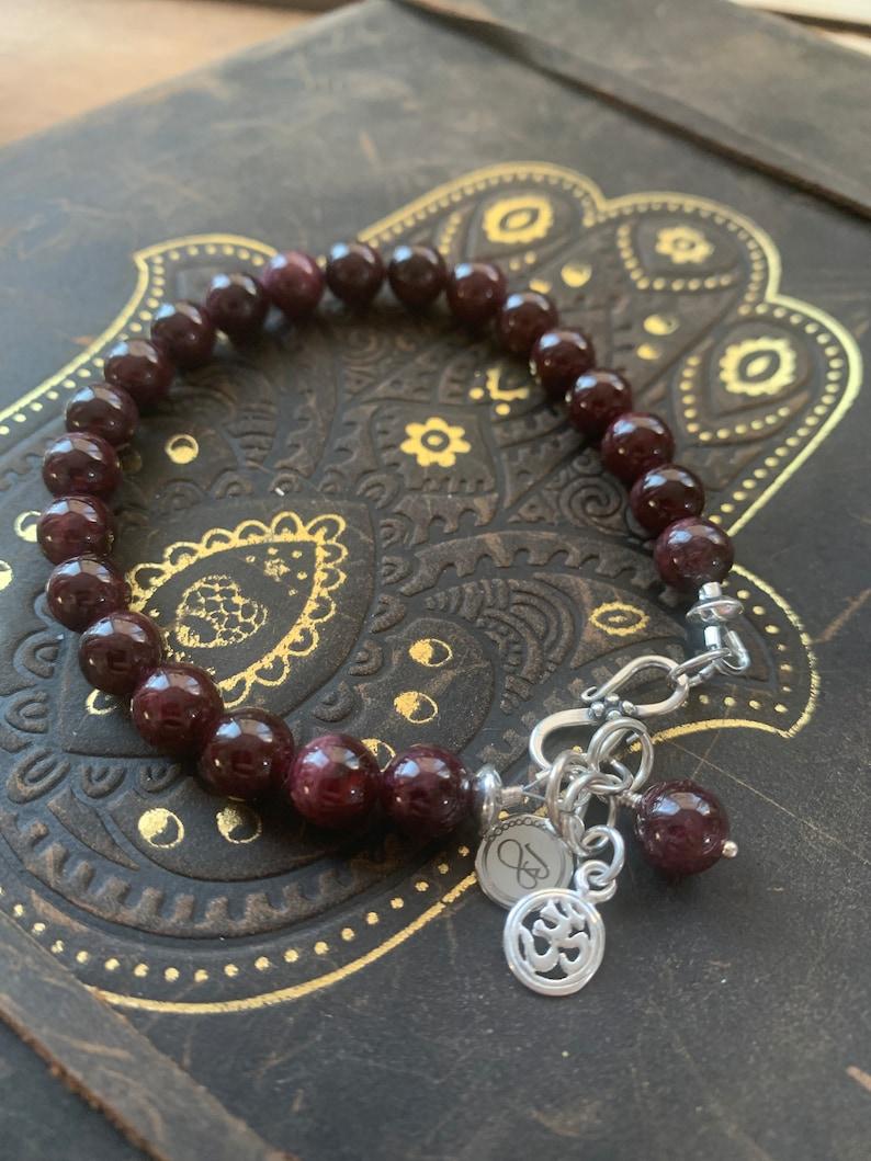 Strength Garnet Healing Bracelet with Sterling Silver OM charm: Self Empowerment Safety Prosperity Abundance