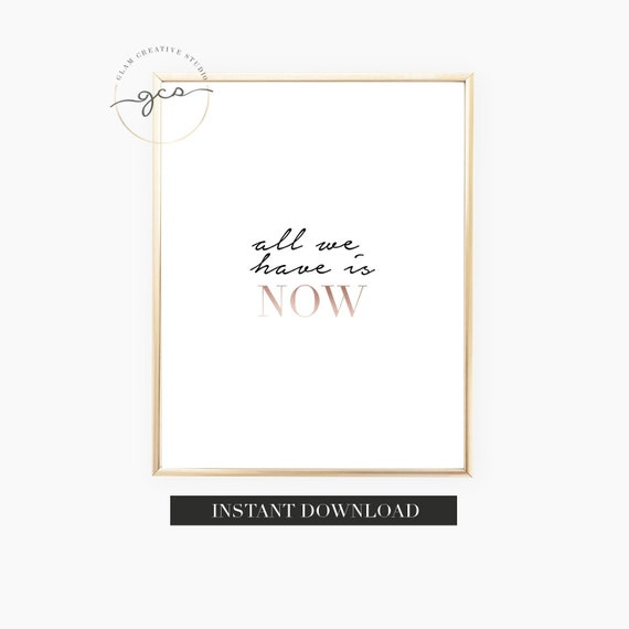 Start Today Quote Print Poster Rose Gold Wall Art