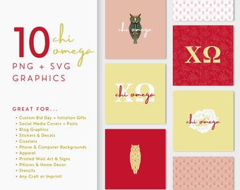 10 Chi Omega, XΩ Sorority Graphics, PNG & SVG