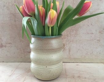 Small Curvy Beige-Turquoise Vase.