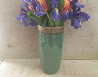 Round Blue-Green Seashore Vase.