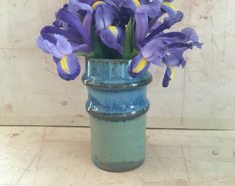 Two Ring Small Blue Vase.