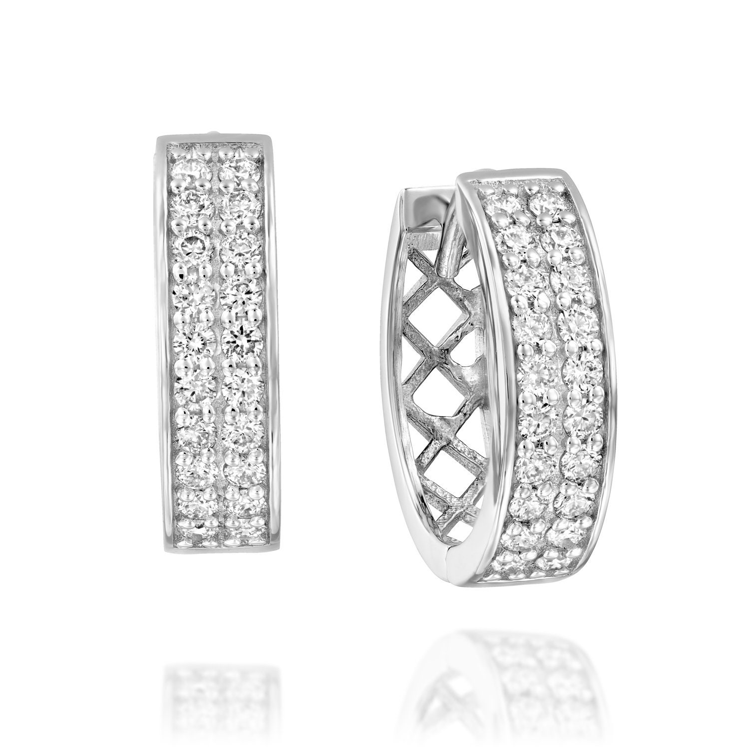 Diamond Hoop Earrings Diamonds Earrings Anniversary Gift for