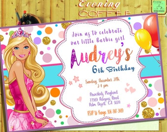Barbie InvitationBarbie BirthdayBarbie CardBarbie PrintableBarbie Digital DownloadBarbie G13