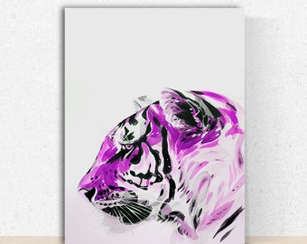 Purple Tiger - Instant Download Wall Decor, Poster