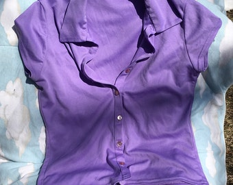 Vintage 90's Younique Purple Collared Button Up Short Sleeved Top M