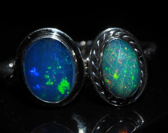 Or Rhodium Argent Sterling 925 Natural Ethiopian Welo fire opal ring US 3-13