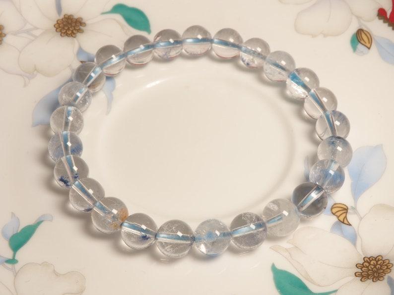 Dumortierite in quartz Beaded Bracelet