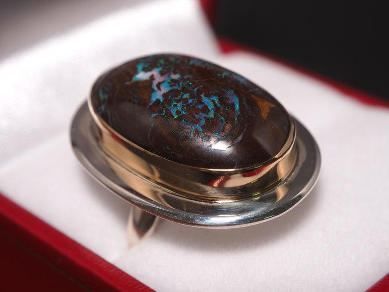 18k Gold Boulder Opal Ring Matrix Boulder Opal