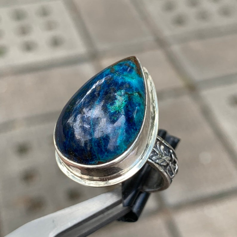 Namibia Blue Shattuckite 925 sterling silver ring size 7 R0169