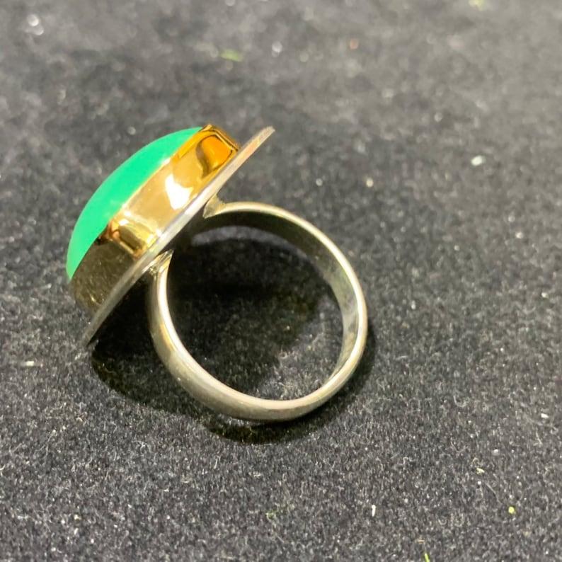 Australian gem chrysoprase 18k gold sterling silver ring size 7 R0366