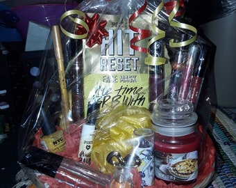 Yellow red beauty gift basket