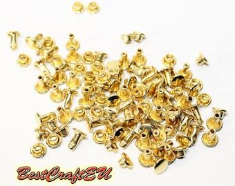 50psc double cap rivets, gold rivets, steel rivets, rivets for crafts, 6mm rivets. Rivets for leather.