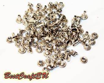 50psc double cap rivets, silver rivets, steel rivets, rivets for crafts, 6mm rivets. Rivets for leather.